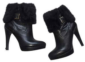INC International Concepts Fur Leather Ankle Black Boots