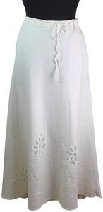 Saint Tropez West Summer Work Casual Embroidered Flowers Maxi Skirt White