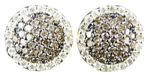 Other Round Cut 12Mm Brown Round Cut Diamond Stud Earrings 1 Ct