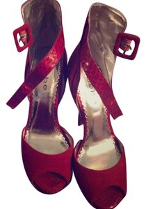 bebe Cherry Red Platforms