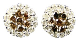 Other 14K Brown/White Flower Cluster Diamond Stud Earrings 1.25 Ct