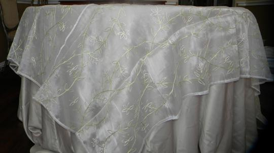 White Sheer Table Topper with Small Cream Flowers Unity Candle