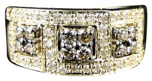Other 14K YELLOW GOLD ROUND CUT BROWN DIAMOND PRONG WEDDING RING BAND