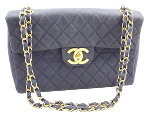 Chanel Denim Maxi Single Flap Quilted Shoulder Bag
