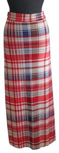Julia Summer Plaid Long Maxi Skirt Multi Color