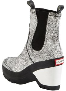 Hunter White Crackle Wedge Boots