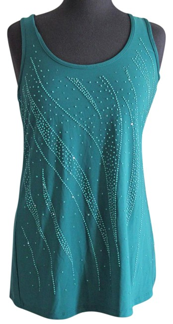 Item - Dark Green (Blue) Beaded Front Blouse Size 10 (M)