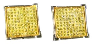 Other Mens Xl 13 Mm Canary Kite Diamond Stud Earrings .90 Ct