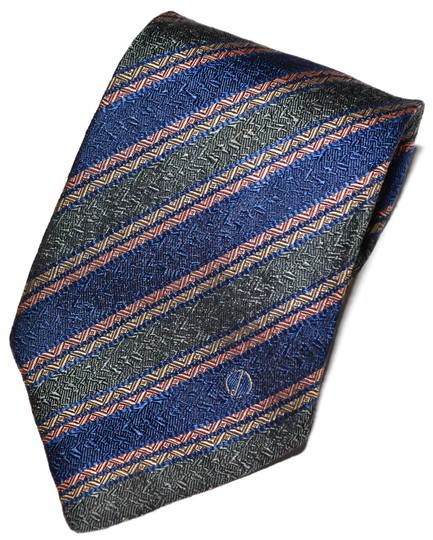 Alfred Dunhill Dunhill Blue Green Pink Striped Pattern All Silk Designer Necktie Tie Made In England Guaranteed Authentic