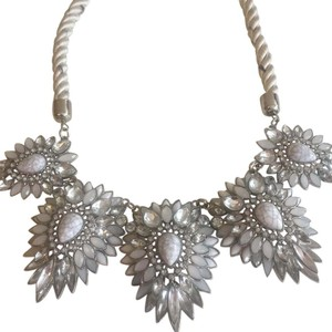 Francesca's Francesca's white and rhinestone woven necklace
