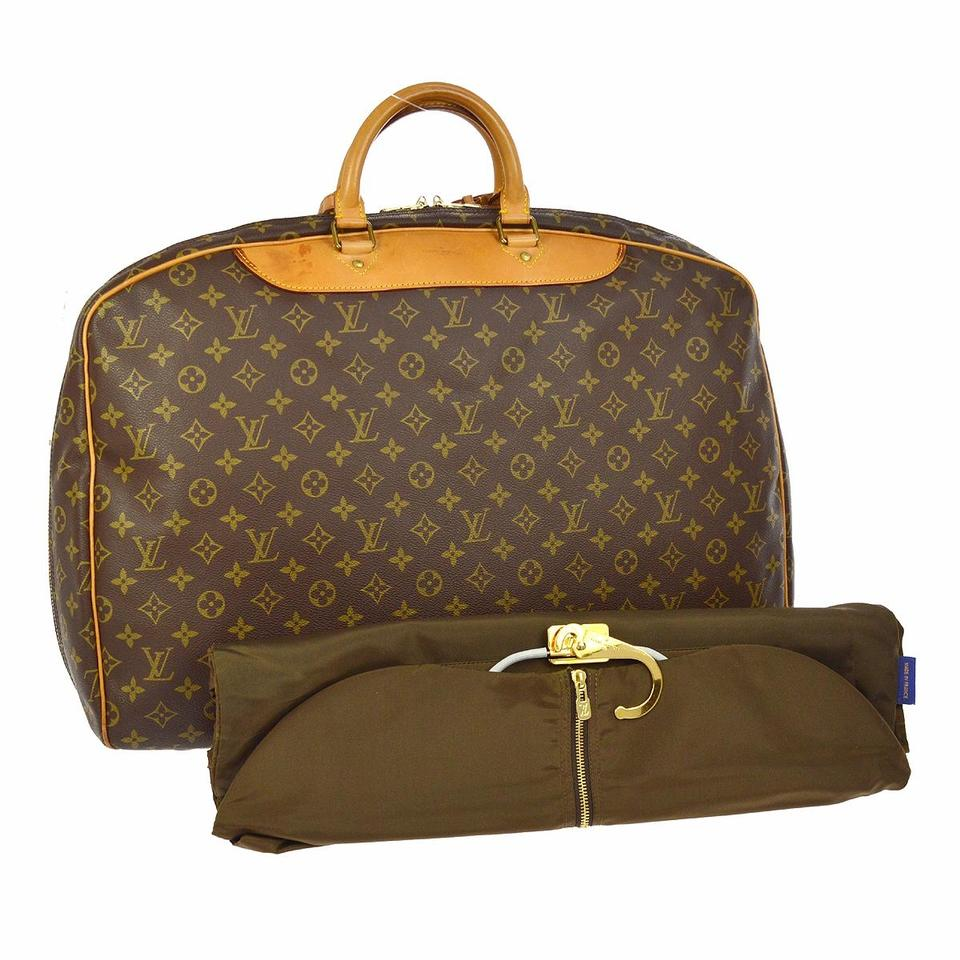 7aea413dd089 Louis Vuitton Alize 24 Heures Brown Monogram Canvas Leather Weekend ...