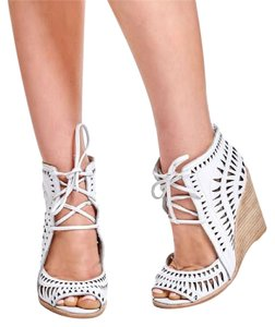Jeffrey Campbell Boho White Cut-out Wedge Sandals