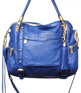 Rebecca Minkoff Satchel in blue with gold hardware