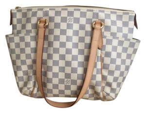 Louis Vuitton Modern Classics Damier Azur Canvas All Season Tote in cream & grey
