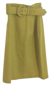 Michelle Stuart Vintage Retro Belted Flared Skirt Lime Green
