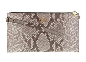 Michael Kors Large Mk Embossed Leather Fulton Leather Wristlet in Cocoa