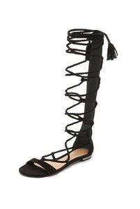 SCHUTZ Gladiator Tall Leather Black Sandals