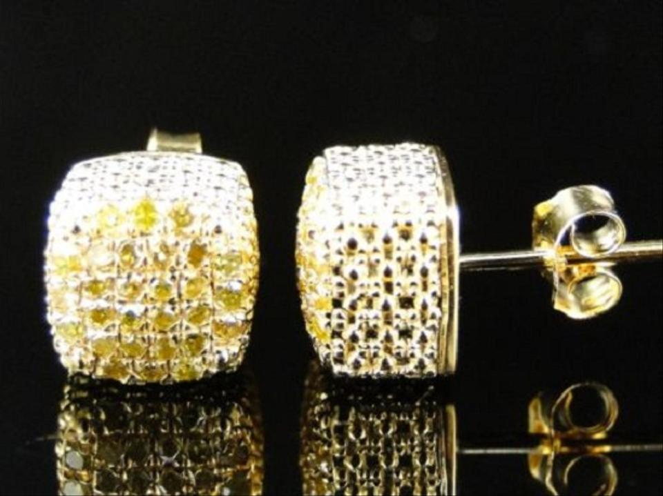 a058917da4d Yellow Gold Finish Men/Ladies Ice Cube 3d Canary Diamond Stud 7mm Earrings  77% off retail