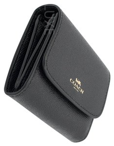 Coach ACCORDIAN CARD / COIN CASE CROSSGRAIN BLACK LEATHER WALLET F54843 IMBL