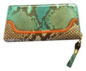Gucci GUCCI Women's Zip-Around PYTHON Wallet Teal Orng Bamboo Tassel NEW