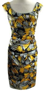 London Times Sheath Floral Sunflower Career Satin Dress