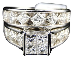 Other 14K White Gold Princess Cut Band Diamond Engagement Ring Set 3 Ct
