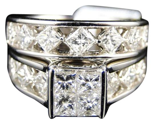 Other 14K White Gold Princess Cut Band Diamond Engagement Ring Set 3 Ct Image 0