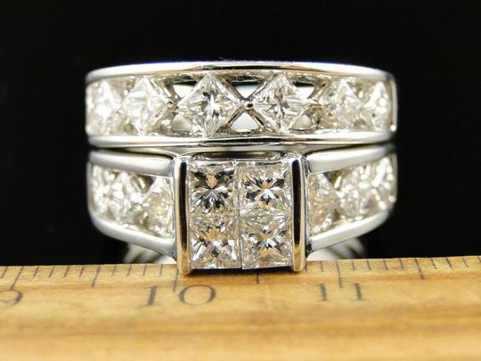 Other 14K White Gold Princess Cut Band Diamond Engagement Ring Set 3 Ct Image 1