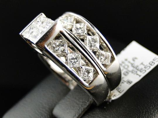Other 14K White Gold Princess Cut Band Diamond Engagement Ring Set 3 Ct Image 4