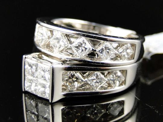 Other 14K White Gold Princess Cut Band Diamond Engagement Ring Set 3 Ct Image 5