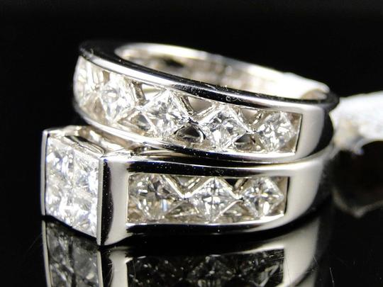 Other 14K White Gold Princess Cut Band Diamond Engagement Ring Set 3 Ct Image 6