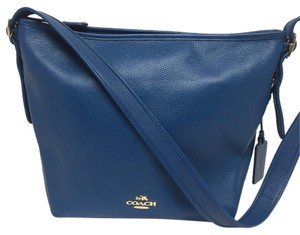 Coach 35775 F35775 Dufflette Leather Denim Shoulder Bag