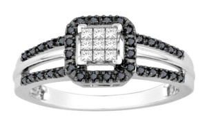 Other 10K White Gold Black And White Princess Cut Ring Bridal Wedding