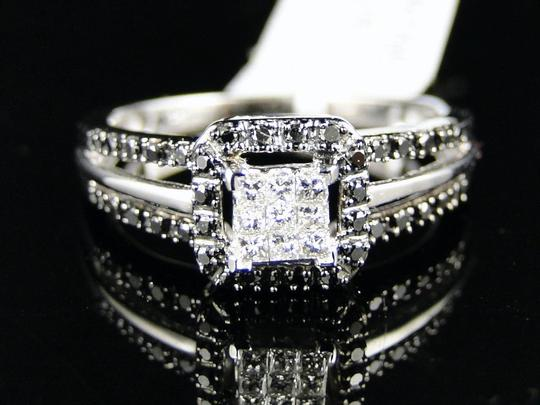 Other 10K White Gold Black And White Princess Cut Ring Bridal Wedding Image 1