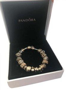 PANDORA PANDORA Two-tone bracelet with gold charms size 17