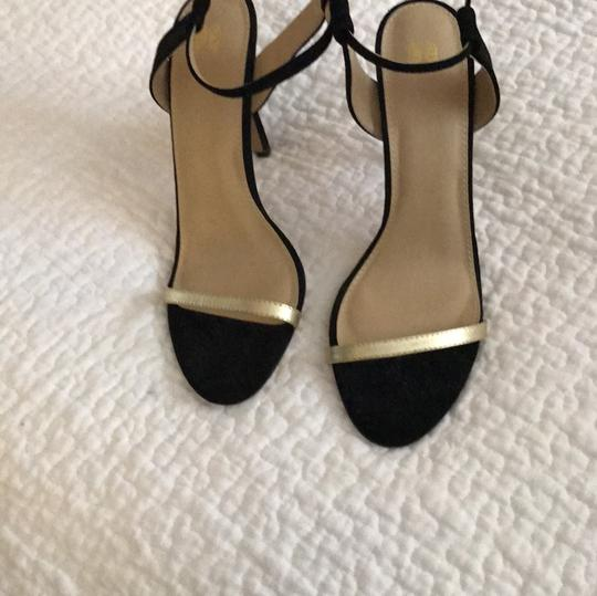 Victoria's Secret black and gold front and Back Suede Pumps Image 1