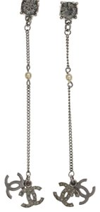 Chanel Silver-Tone Double CC Dangle Earrings