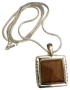 Tiger Eye Gemstone in Sterling Silver setting 925 on Black Leather Cord 18