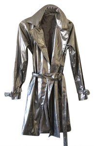 Other Shiny Space Metallic Trench Coat