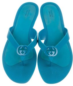 Gucci Horsebit Silver Hardware Logo Rubber Blue Sandals