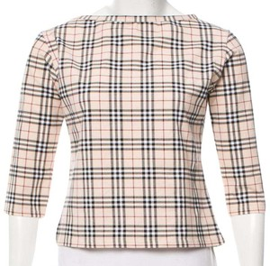 Burberry Nova Check Plaid Monogram Longsleeve House Check Top Beige, Black, Red