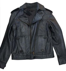 Theory Metallic Slate Grey/Blue Leather Jacket
