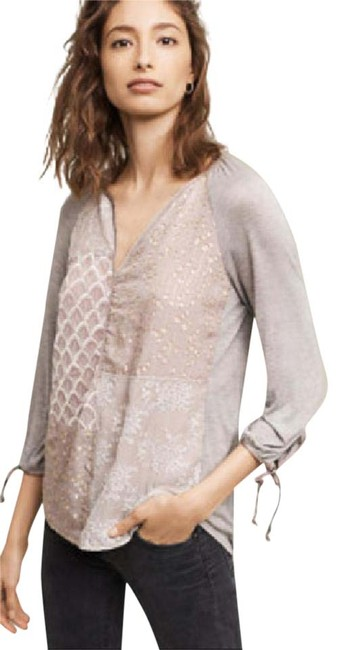 Item - Purple and Grey Juliette Patchwork Silk Rayon Blouse Size 0 (XS)