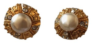 Chanel Chanel Clip-on Earrings Christal, Gold and Faux Pearl