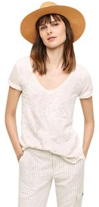 Anthropologie Embroidered T Shirt White