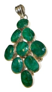 Silver Co. Emerald Gemstones Silver Pendant