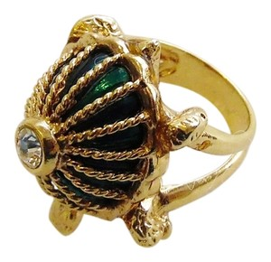 Hutton Wilkinson Hutton Wilkinson Green Enamel and Crystal Turtle Ring size 7