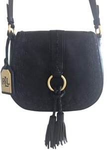 Ralph Lauren Satchel Leather Tassels Cross Body Bag