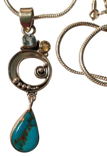 Other Blue Copper Turquoise Gemstone and Crystals Pendant Necklace in Sterling Silver