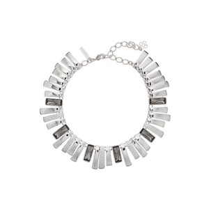 Oscar de la Renta Silver-toned Metal Crystal Rectangular Necklace